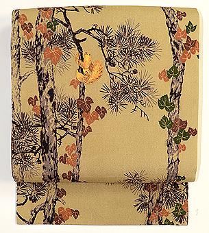 森の栗鼠刺繍名古屋帯