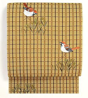 雀に弘法麦の刺繍名古屋帯