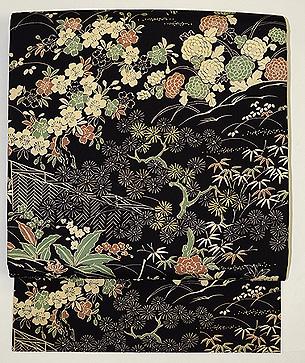 黒地檜垣に庭園の図名古屋帯