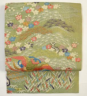 松に梅、極楽鳥の江戸裂名古屋帯