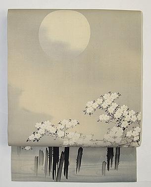 満月に夜桜染名古屋帯