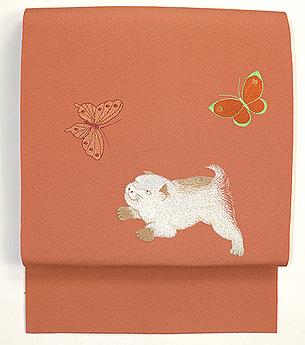 蝶々に子犬の刺繍帯