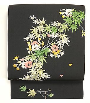 桜楓刺繍塩瀬名古屋帯
