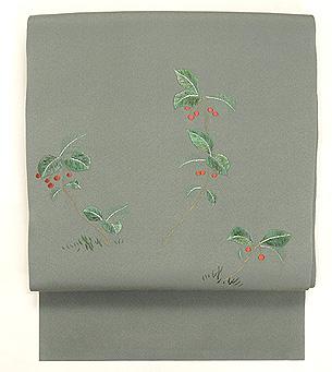 藪柑子の図刺繍名古屋帯