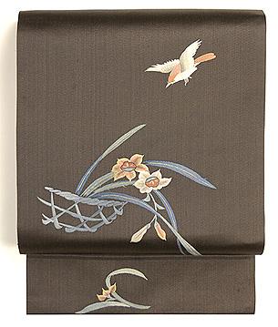 水仙にひよどり刺繍名古屋帯