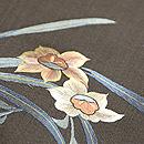水仙にひよどり刺繍名古屋帯 質感・風合
