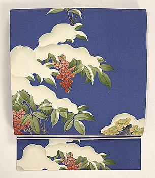 雪持ち南天名古屋帯