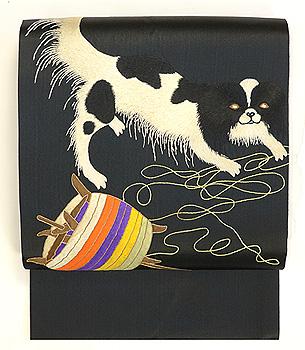 狆に毬と糸巻き刺繍名古屋帯