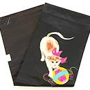 リボン首輪の子猫と毬刺繍名古屋帯 帯裏