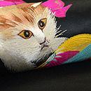 リボン首輪の子猫と毬刺繍名古屋帯 質感・風合