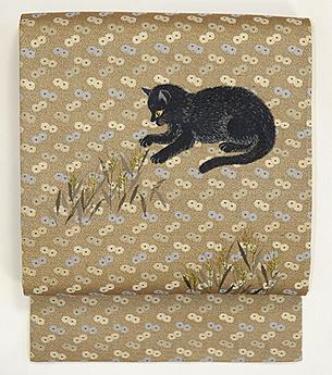 黒猫と弘法麦の刺繍名古屋帯