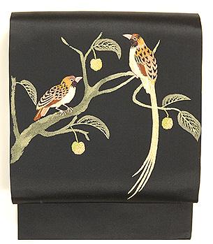 尾長鳥に木の実刺繍名古屋帯