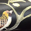 尾長鳥に木の実刺繍名古屋帯 質感・風合