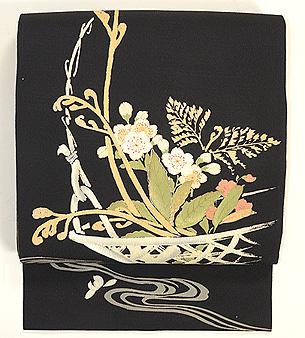 竹かごに春の盛り合わせ名古屋帯