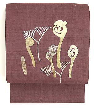 蕨としのぶ草刺繍名古屋帯