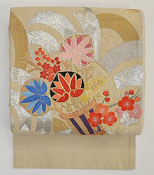 葵花束可憐刺繍名古屋帯