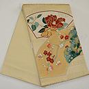 扇面に椿、梅、小菊刺繍袋帯 帯裏