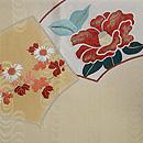 扇面に椿、梅、小菊刺繍袋帯 前中心