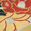 扇面に椿、梅、小菊刺繍袋帯 質感・風合