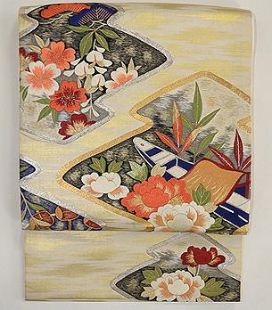 花筏菱文様刺繍袋帯