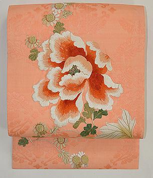 牡丹に菊の図刺繍名古屋帯