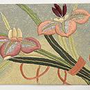 菖蒲の花束の図刺繍名古屋帯 前中心