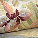 菖蒲の花束の図刺繍名古屋帯 質感・風合