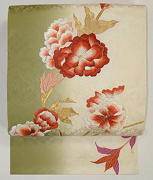 抹茶ぼかし牡丹の図刺繍名古屋帯