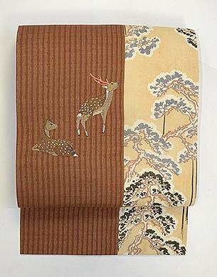 森に夫婦鹿の刺繍切り継ぎ帯
