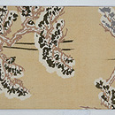 森に夫婦鹿の刺繍切り継ぎ帯 前中心
