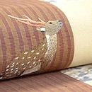森に夫婦鹿の刺繍切り継ぎ帯 質感・風合