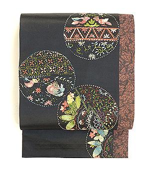 丸紋のリボン刺繍切り継ぎ帯