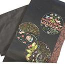 丸紋のリボン刺繍切り継ぎ帯 帯裏