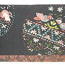 丸紋のリボン刺繍切り継ぎ帯 前中心