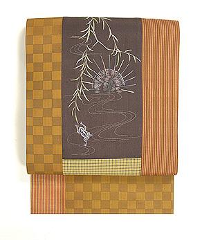 柳にカエルの刺繍切り継ぎ帯