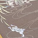 柳にカエルの刺繍切り継ぎ帯 質感・風合