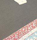 手描き更紗に縞切り継ぎ帯 質感・風合