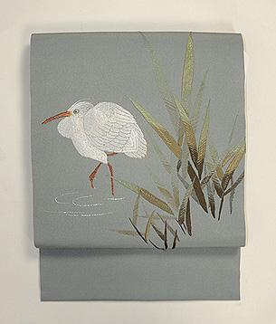 水辺にサギの刺繍帯