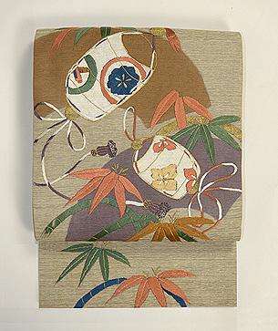 笹に印籠刺繍袋帯