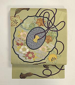 古鏡の図刺繍帯