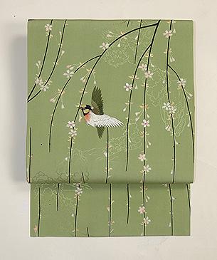 枝垂れ桜に鳥の図名古屋帯