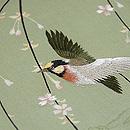 枝垂れ桜に鳥の図名古屋帯 質感・風合