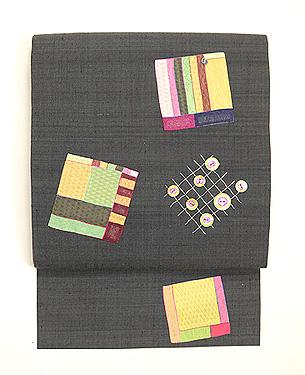 絹のパッチワーク創作帯