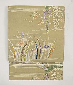 藤に菖蒲春の図名古屋帯