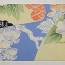 扇面に牡丹と春の花々染名古屋帯 前中心