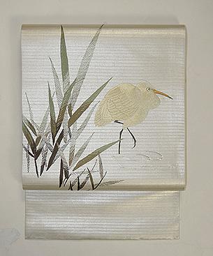 水辺に鷺の刺繍帯