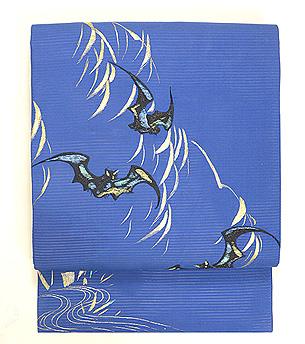 柳に蝙蝠刺繍帯