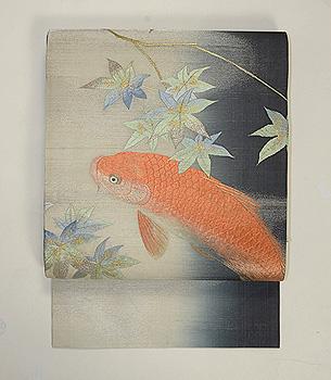 青紅葉に緋鯉の名古屋帯