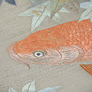 青紅葉に緋鯉の名古屋帯 質感・風合