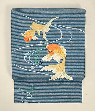 水草に金魚刺繍名古屋帯
